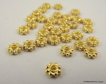 Gold rondelles, spacer beads, 5 x 2mm, 100 Pieces