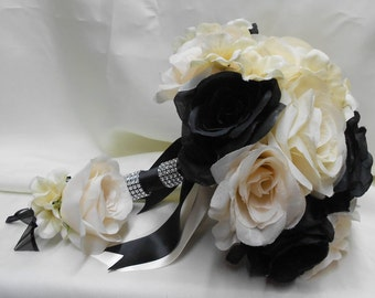 Wedding Bridal Bouquet Your Colors 2 piece Ivory Black Rose Ivory Hydrangea with Boutonniere Centerpiece Corsages Bridesmaids FREE SHIPPING