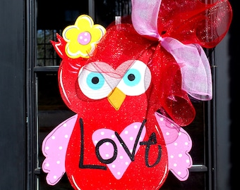 Valentine Door Hanger, Owl Door Hanger, Valentines Day Door Decor, Valentine Decor