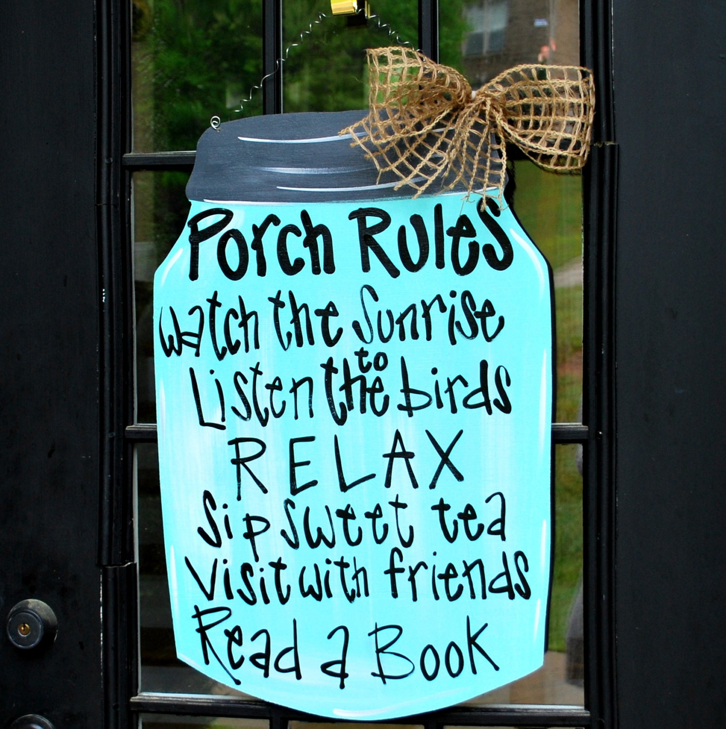 Decorative Door Hangers Porch Rules Sign Mason Jar Decor Door Decor Door Hanger