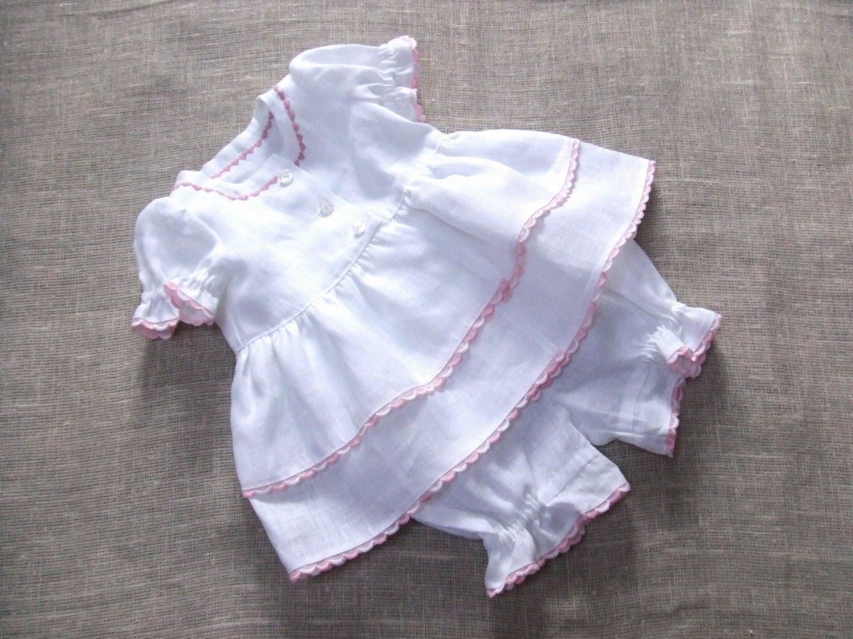 Newborn girl linen clothing baptism christening baby by
