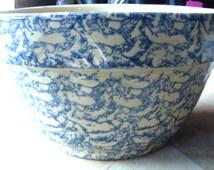 Robinson Ransbottom Roseville Ohio Pottery Blue Spongeware Huge Bowl