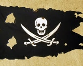 1 1/2' x 2 1/2'  Pirate Flag: Battle-Worn Canvas Calico Jack