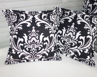 Black and white Damask Pillow covers