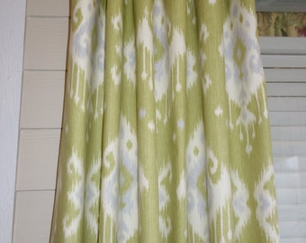 Items Similar To Citron Blue Grey And White Ikat Curtain