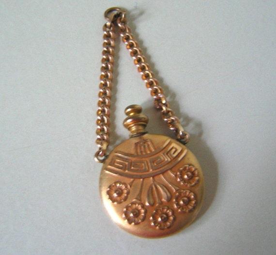 ART NOUVEAU ANTIQUE Rose Gold Perfume Bottle Pendant for Chatelaine Vintage Antique Collectible Edwardian Charm