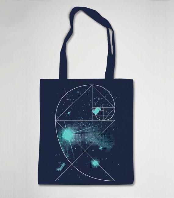 "Organic Shopping Bag Navy ""Birdy Of The Universe"""