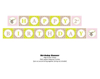 Monkey Theme Happy Birthday Banner