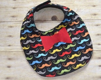Mustache Many Colors Geekly Chic Red Bow Tie Applique Baby Bib