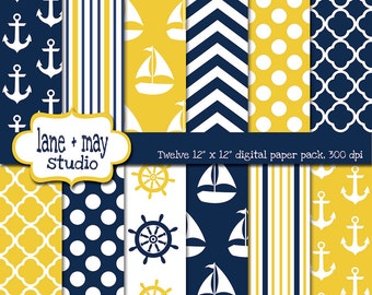 digital scrapbook papers - yellow and navy blue nautical - INSTANT DOWNLOAD