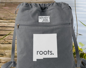 New Mexico NM Roots Canvas Backpack Cinch Sack
