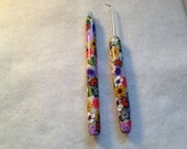Polymer clay covered Loom knitting Styler Pen and Loom Pick Set