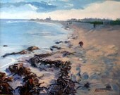 COASTAL BEAUTY Beach , Biddeford Pool , Maine painting  16 in. X 20 in. Original , contemporary ,  wall art .  sea blue sand shadows
