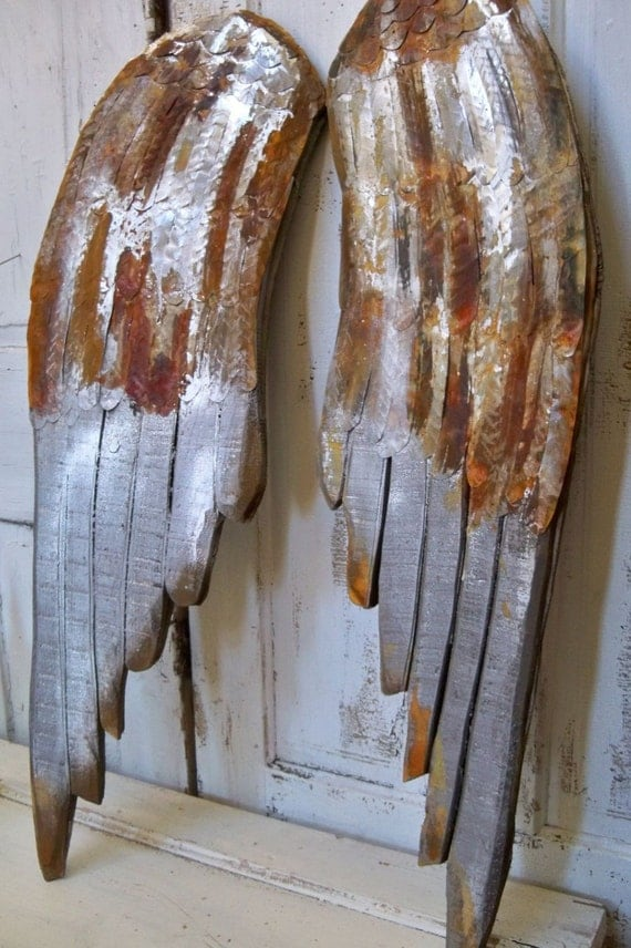 Large Wooden Wings Wall Sculpture Rusty Metal Distressed Faux