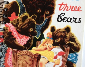 The Three Bears Little Golden Book Recycled Journal Notebook