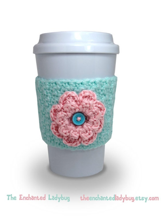 Crochet Flower Coffee Cup Cozy in Mint by TheEnchantedLadybug