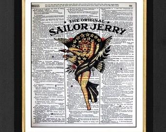 "Sailor Jerry ""Stars Unite"",Sailor Jerry Art Prints,Sailor Jerry Bar Artwork,Bar Decor,Sailor Jerry Pictures,Vintage Dictionary Page Print"