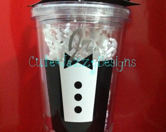 Personalized Jr. Groomsman, 16oz, Acrylic, BPA Free Tumbler with Straw