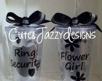 Personalized Ring Security & Flower Girl 16 oz Acrylic, BPA Free Tumbler with straw Set