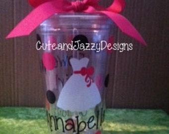 Personalized, Flower Girl Dress, 16 oz, BPA Free, Acrylic Tumbler w/ Straw
