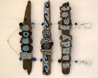 Peace, Love, Sandy Feet Driftwood Art with colorful beads and crystals