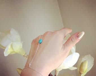 Turquoise Slave bracelet silver bracelet boho statement jewelry body jewelry hand jewelry ring chain beach wedding