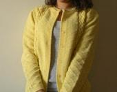 SALE! YELLOW Knit Sweater Cardigan Pastel