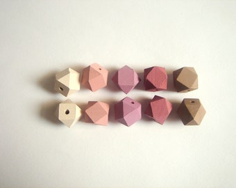 Ash Pastel Geometric Wood Beads,Hand Painted wood Beads,  Geometric Jewelry,Do it Yourself Geometric necklace