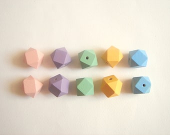 Pastel Faceted Wood Beads, wood Beads,  Geometric Jewelry,Do it Yourself Geometric necklace