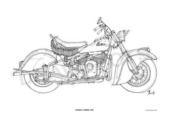 indian chief 1951 original handmade drawing fine print