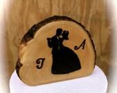 Rustic Wedding Cake Topper - Wooden Cake Topper - Bride Groom Wedding Cake Topper