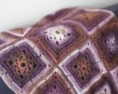 Crochet Blanket Granny Square Wool Ecru Vanilla Grey Beige Brown Violet Purple Soft Cozy Home Decor by dodofit on Etsy