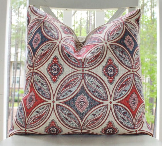 Designer Stroheim Pillow -20 x 20 Red Blue Mint Geometric Moroccan Medallion Pillow Cover- Decorative Designer Pillow Cover
