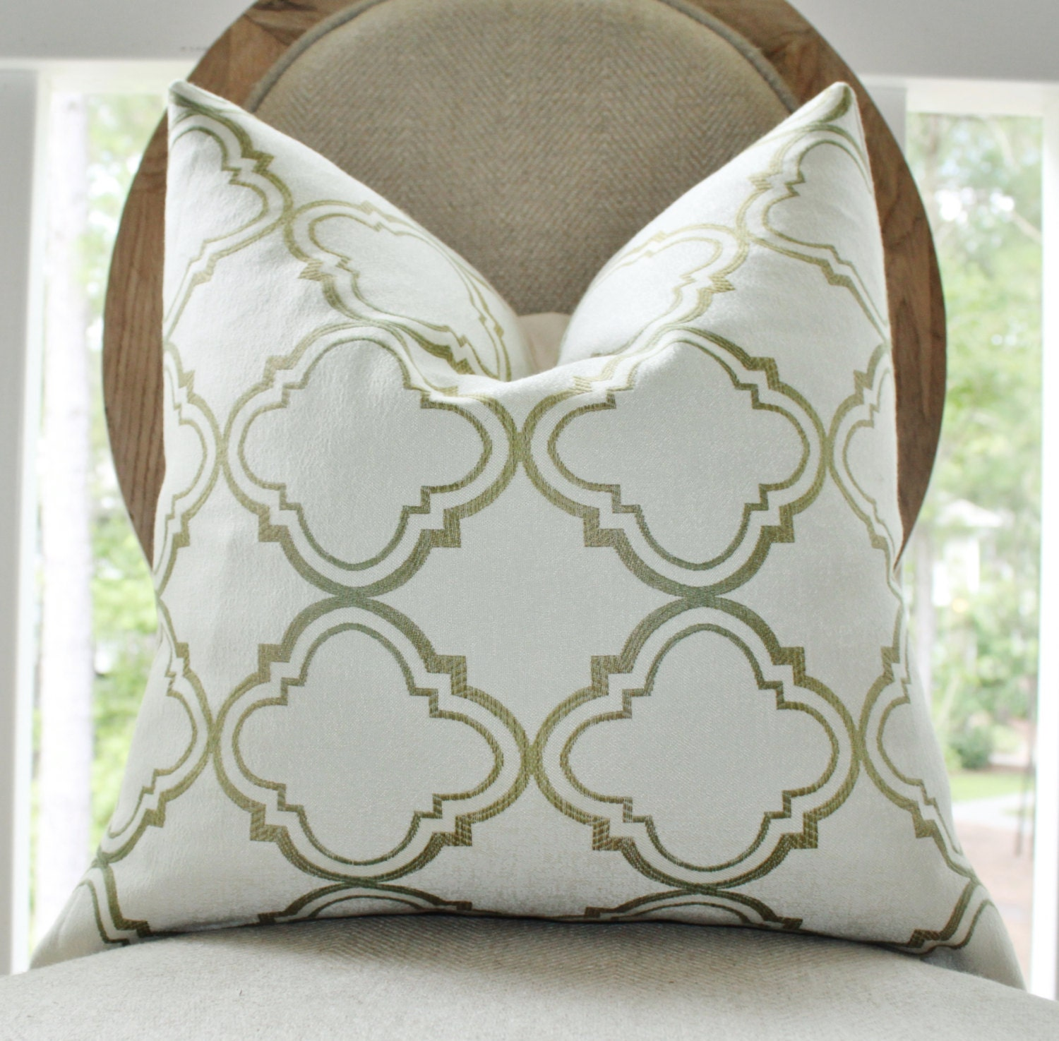 Designer Green Pillow Ivory Olive Green Cream Moroccan