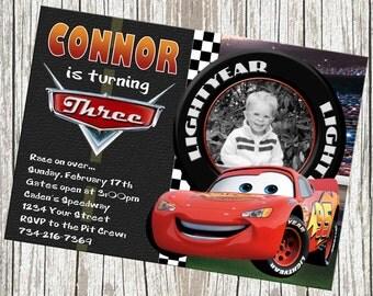 Lightning McQueen Disney Cars Birthday Invitation - Custom with Photo