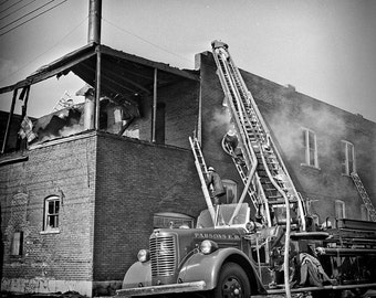 Vintage 1963 Fire Fighter Image 10x10 Hook and Ladder Truck