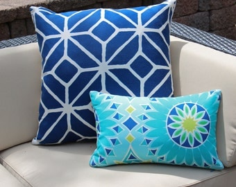 Set of Two Trina Turk Outdoor Pillow Covers in Blue, Turquoise and Chartreuse