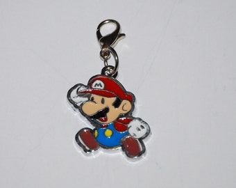 Mario Enamel Clip Charm, zipper pull, backpack, cell phone, purse clip, bracelet, necklace or scrapbooking.