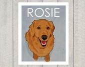 Golden Retriever Art Print - Custom Dog Art