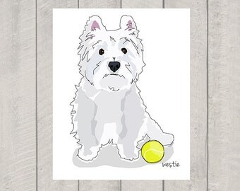Westie Art Print - Custom Dog Art - 8x10