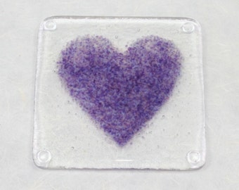 Purple Heart Fused Glass Coaster