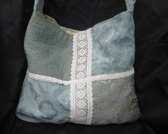 Shabby aqua bag purse, boho slouchy summer gypsy purse