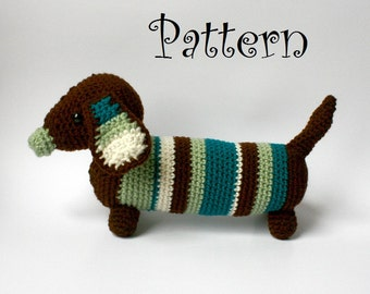 INSTANT DOWNLOAD - Dachshund crochet pattern, pdf, Permission to Sell