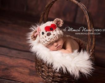 Newborn Props//Crocheted Puppy Hat//Lovesick Puppy Beanie//Crochet Hat//Unisex Hat//Newborn Photo Prop//Animal Hat//Baby Shower Gift