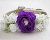 Purple White Wedding Dog Collar. Purle White Flowers with Rhinestones -High Quality Leather Collar, Wedding Dog Accessory