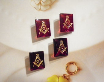 4 Vintage West German Glass 12x10mm Ruby Red Faceted Masonic Stones