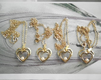 """4 Vintage Goldplated 18mm Double Heart Pendants  with Pearl on 18"""" Chain"""