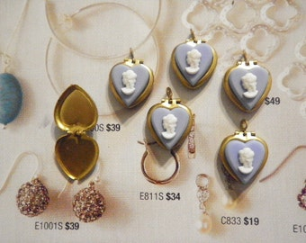 6 Heart Lockets with Blue Cameo