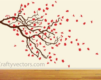 Spring Cherry Blossom and Branch SVG cut file