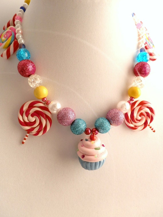 Cupcake Lollipop Candy Land Necklace